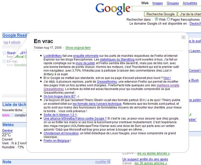 Google Reader dans la page d'accueil personalisée Google